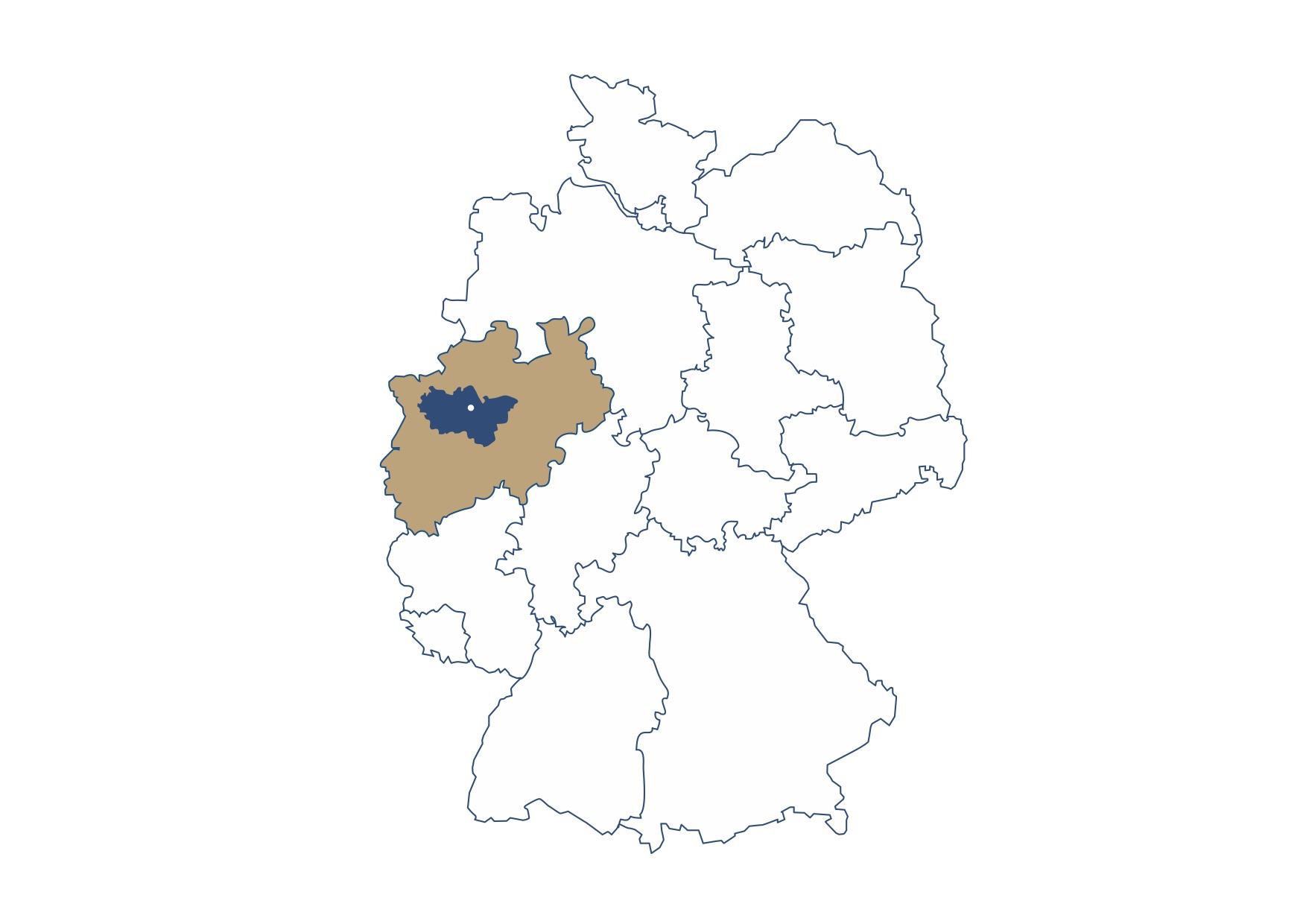 Die Grafik zeigt die Lage der Stadt Recklinghausen im Ruhrgebiet, NRW.