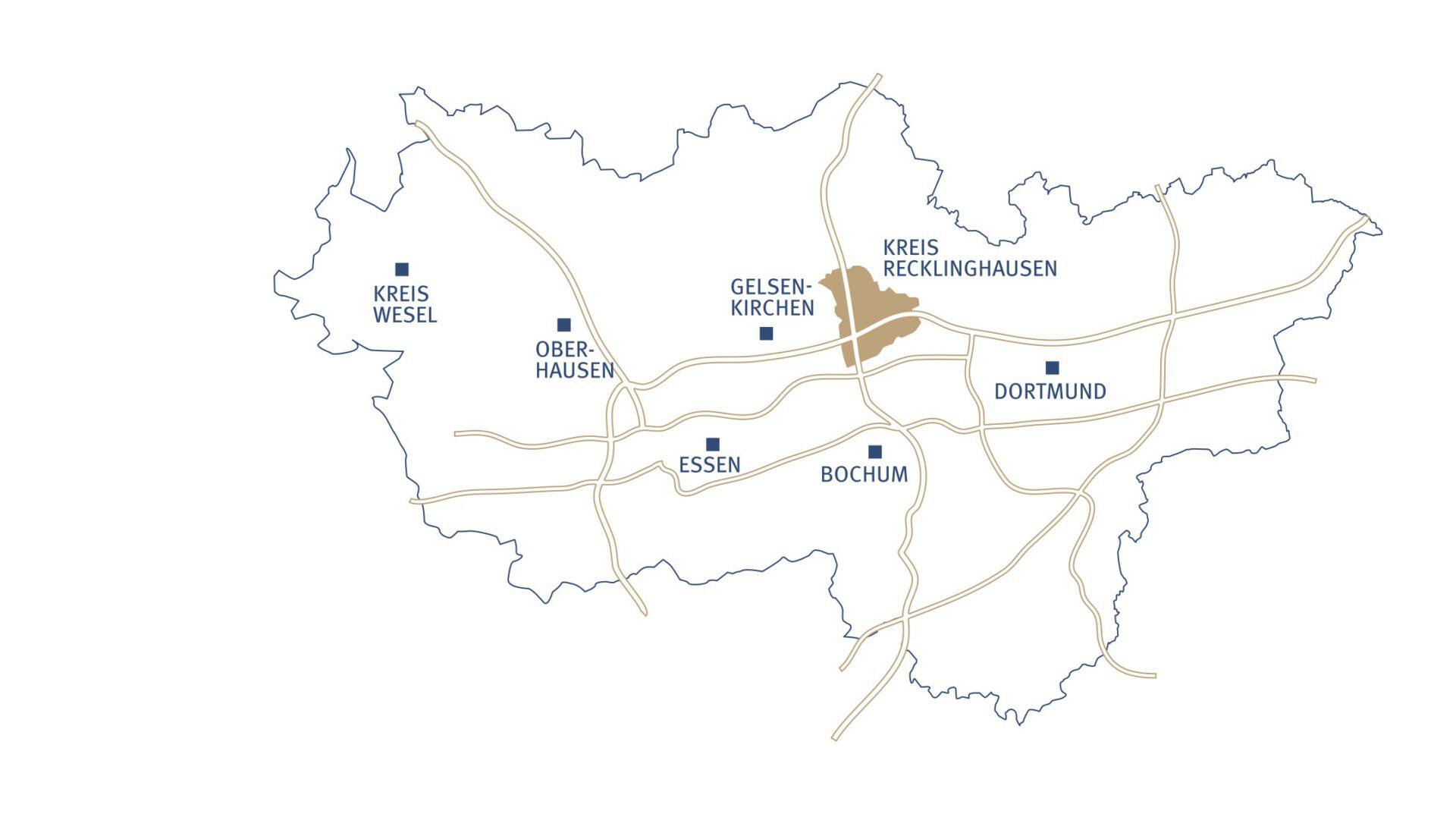 Diese Grafik zeigt die Lage des Kreises Recklinghausen im Ruhrgebiet sowie die Autobahnanbindungen.